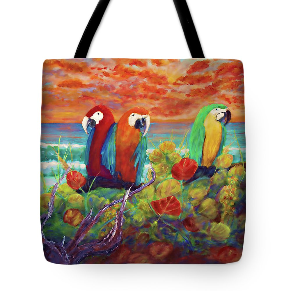 Keys Tote Bag featuring the mixed media Parrots On The Beach Painterly by Ken Figurski