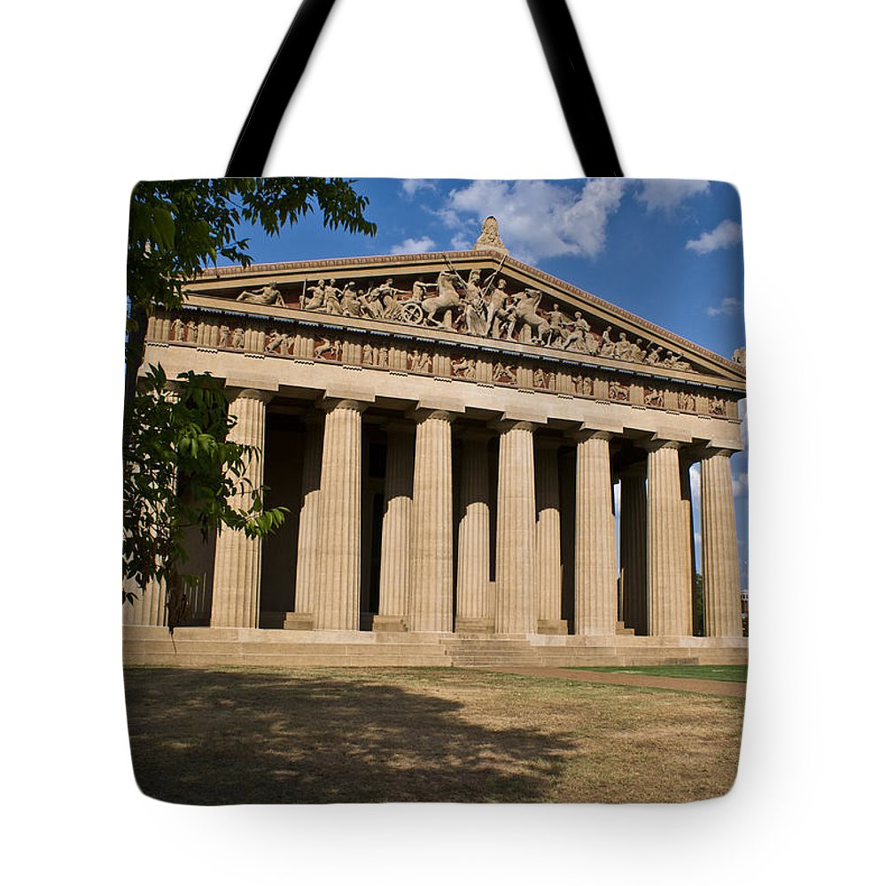 Parthenon Tote Bag featuring the photograph Parthenon Nashville Tennessee From The Shade by Douglas Barnett