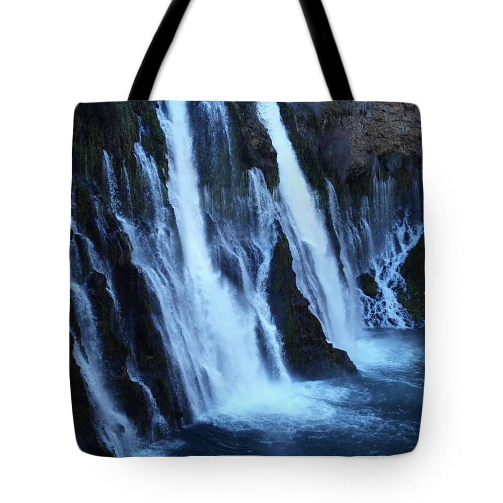 Water Tote Bag featuring the photograph Partial Side View Of Burney Falls Ca by Teri Schuster