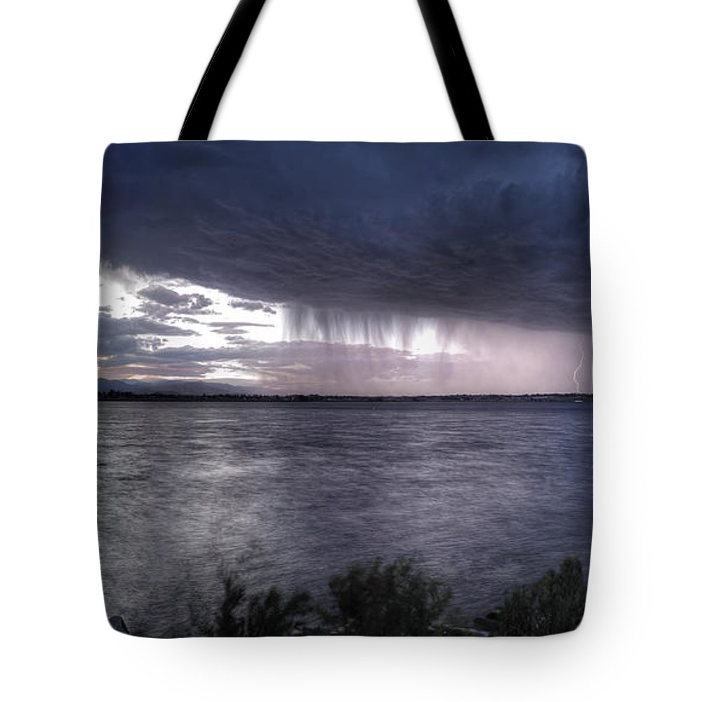 Landscape Tote Bag featuring the photograph Parting Skies Over Union Reservoir by Bryan Harding