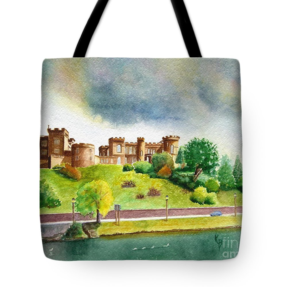 Scotland Tote Bag featuring the painting Partly Cloudly by Karen Fleschler