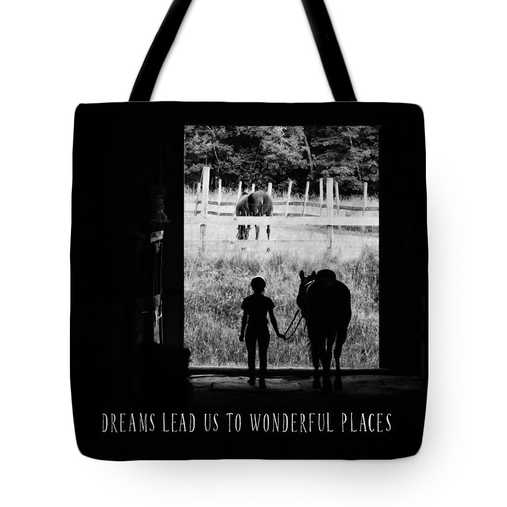Horse Tote Bag featuring the photograph Partners Quote by JAMART Photography