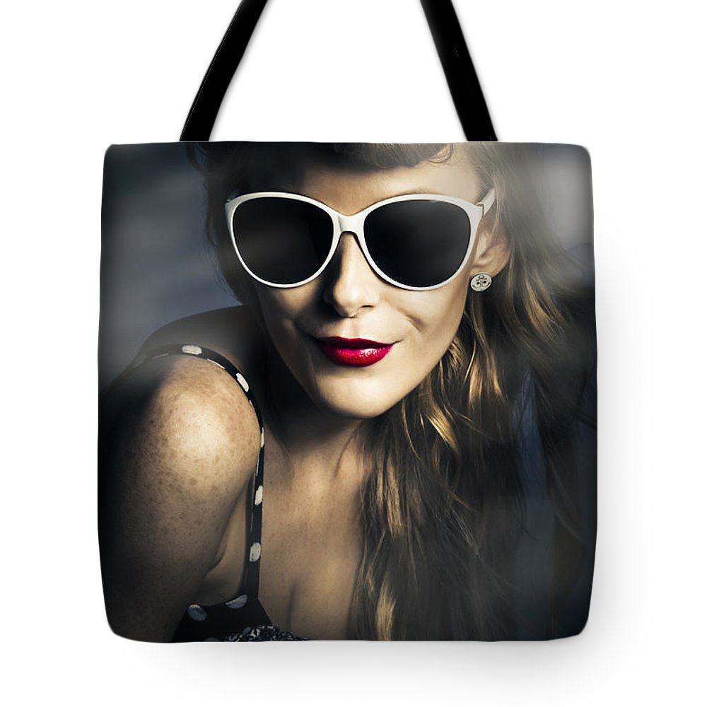 Nightclub Tote Bag featuring the photograph Party Fashion Pin Up by Jorgo Photography - Wall Art Gallery