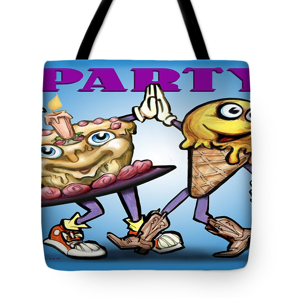 Party Tote Bag featuring the greeting card Party by Kevin Middleton