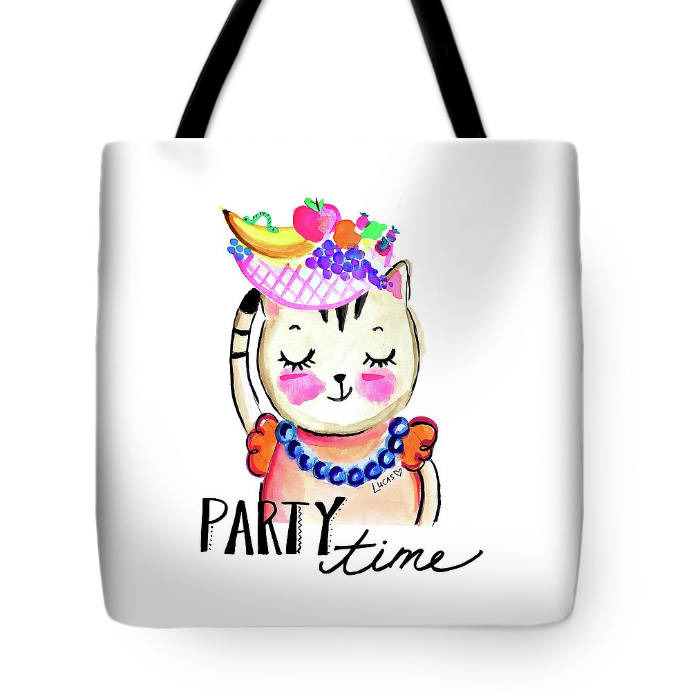 Cat Tote Bag featuring the painting Party Time by Ashley Lucas