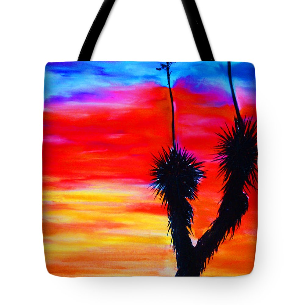 Sunset Tote Bag featuring the painting Paso Del Norte Sunset 1 by Melinda Etzold