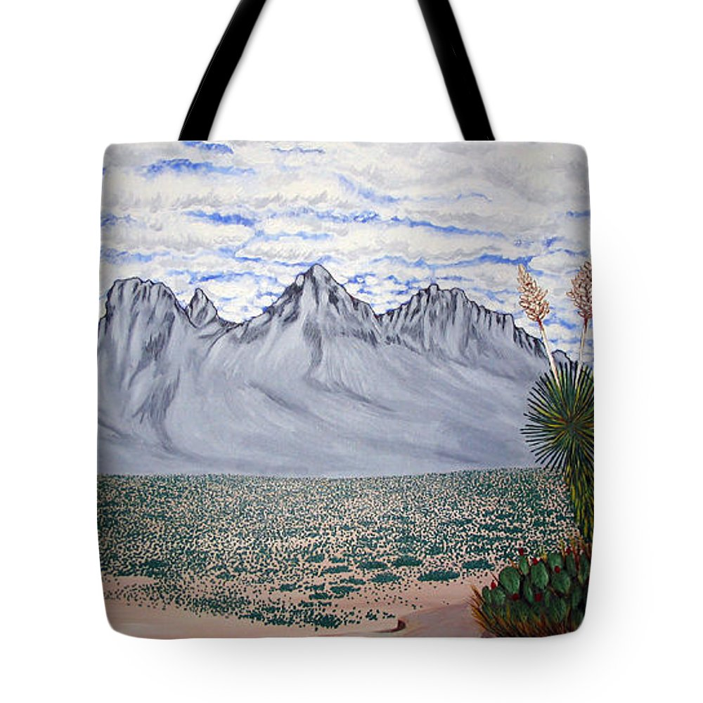 Desertscape Tote Bag featuring the painting Pass Of The North by Marco Morales
