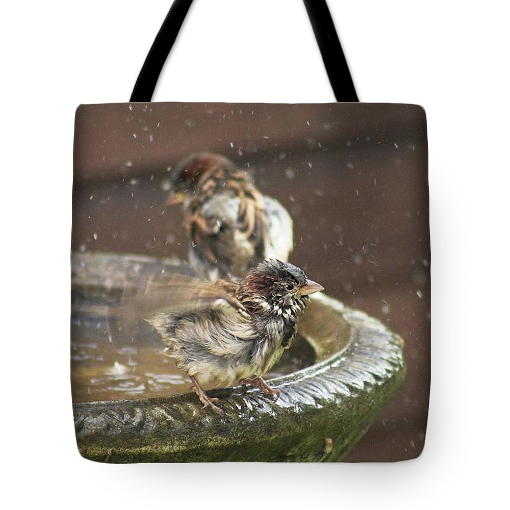 Nature Tote Bag featuring the photograph Pass The Towel Please: A House Sparrow by John Edwards