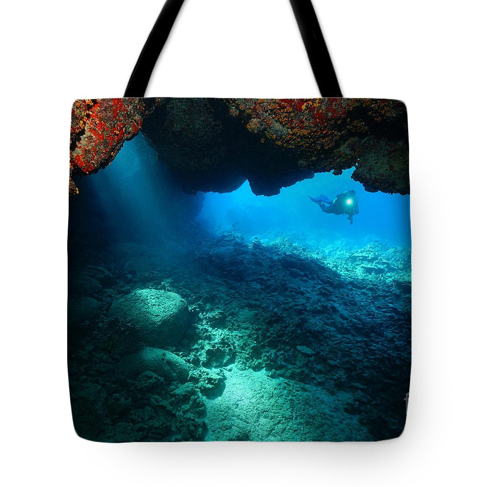 Lava Arch Tote Bag featuring the photograph Passage by Aaron Whittemore