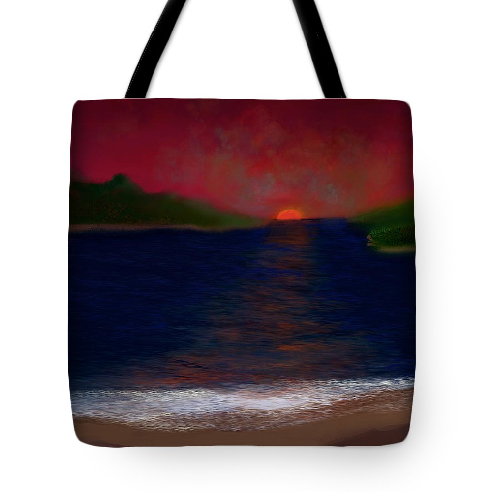 Sunset Tote Bag featuring the digital art Passageway Sunset by Dick Bourgault