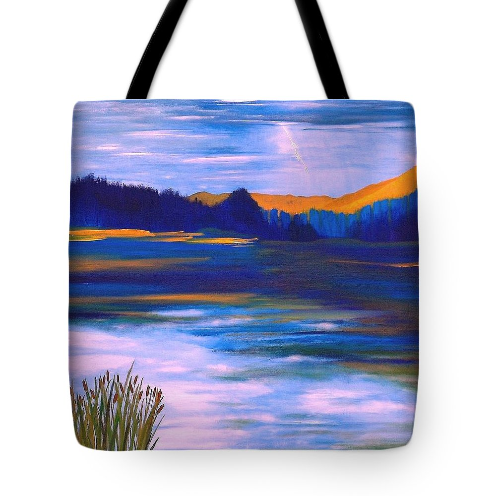 Passing Storm Tote Bag featuring the painting Passing Storm by Denise C Peat