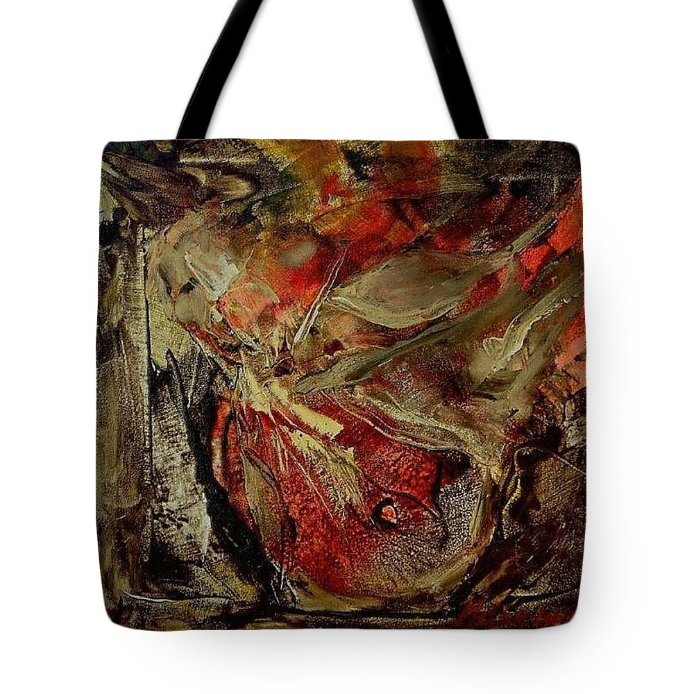 Abstract Tote Bag featuring the painting Passion  by Rome Matikonyte