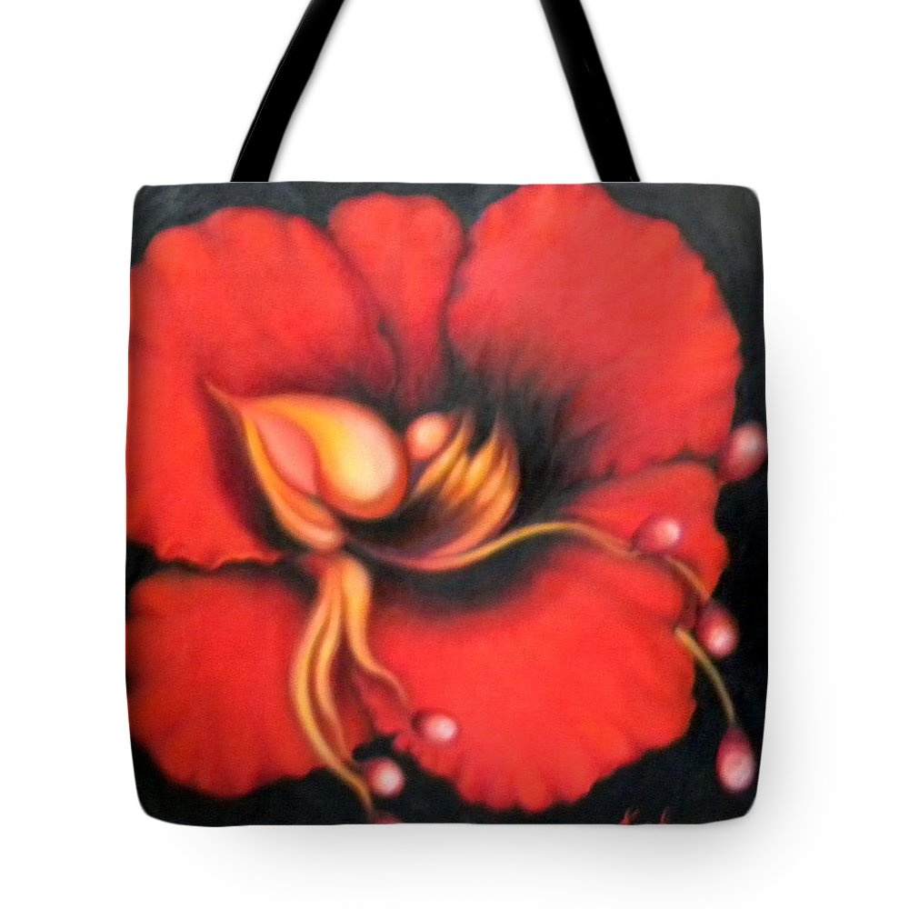 Red Surreal Bloom Artwork Tote Bag featuring the painting Passion Flower by Jordana Sands