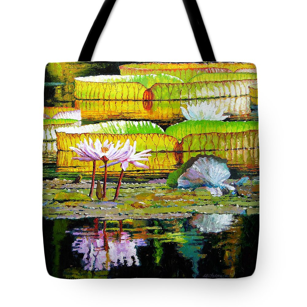 Water Lilies Tote Bag featuring the painting Passion for Color by John Lautermilch