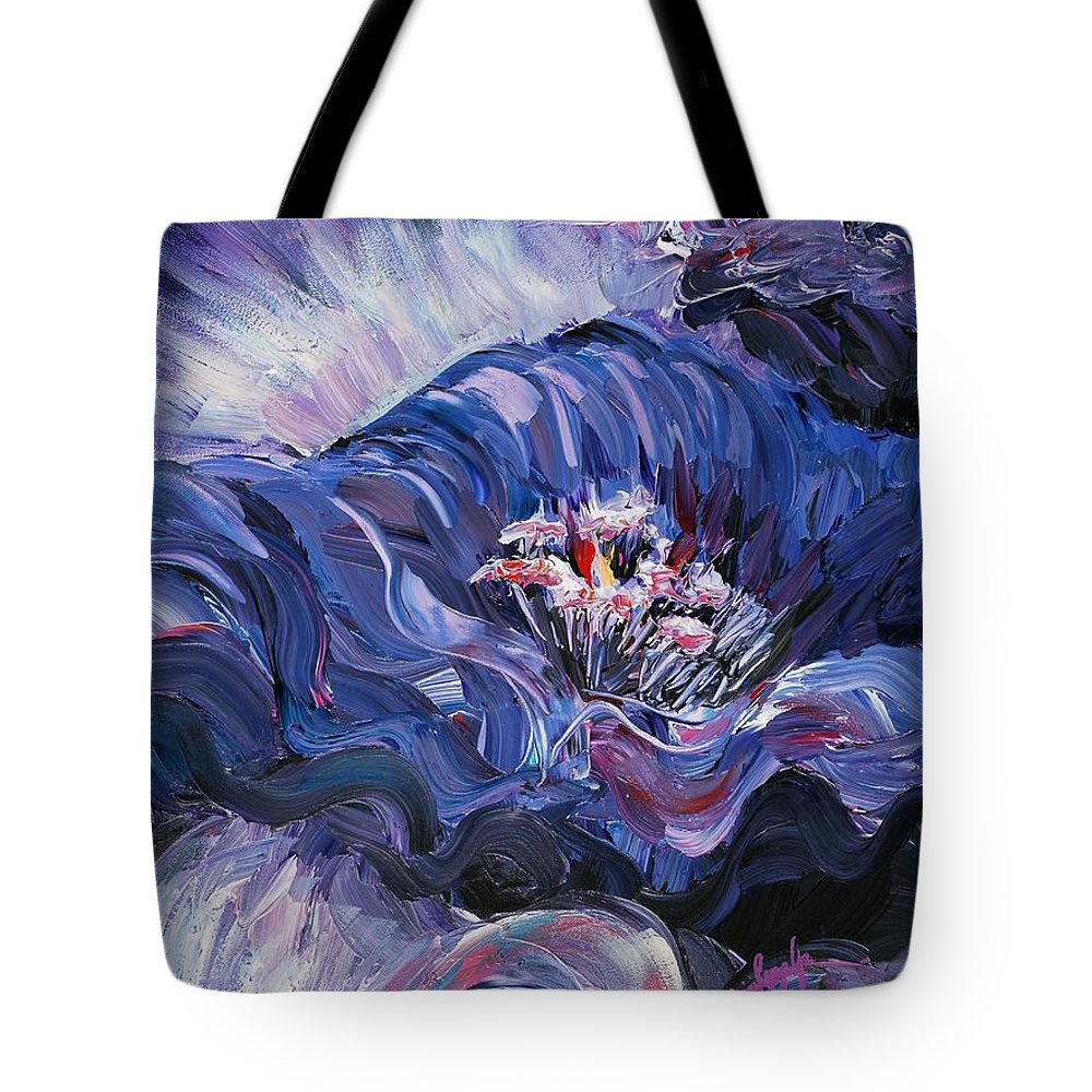 Blue Tote Bag featuring the painting Passion In Blue by Nadine Rippelmeyer