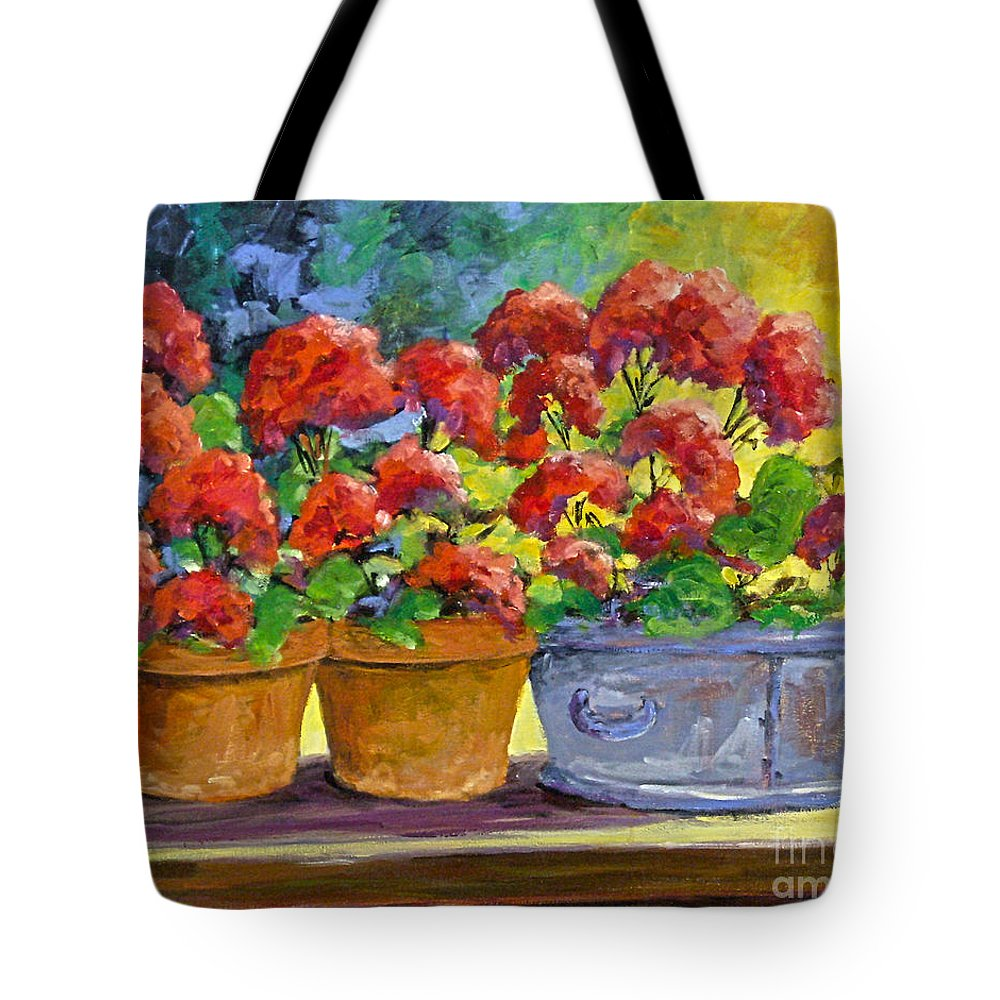 Still Life; Geraniums; Flowers; Terra Cotta; Red; Blue; Yellow; Green; Pranke; Tote Bag featuring the painting Passion In Red by Richard T Pranke