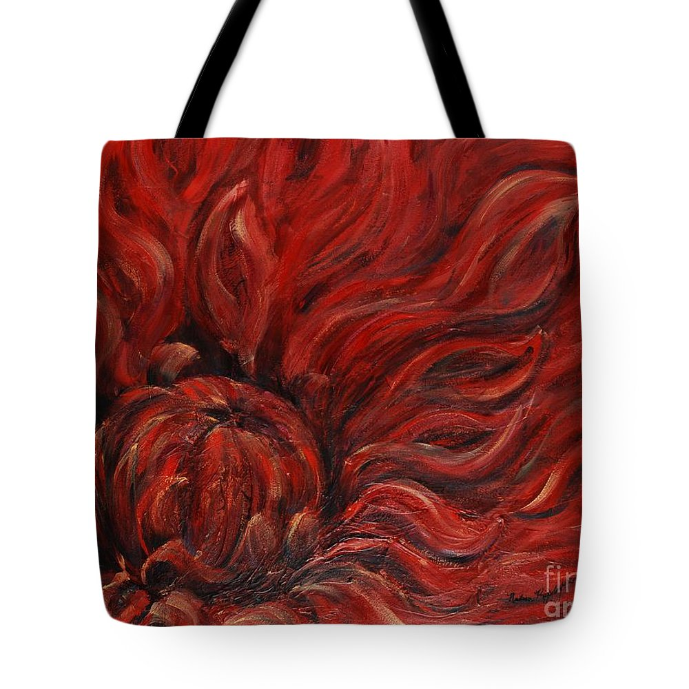 Flower Tote Bag featuring the painting Passion IV by Nadine Rippelmeyer