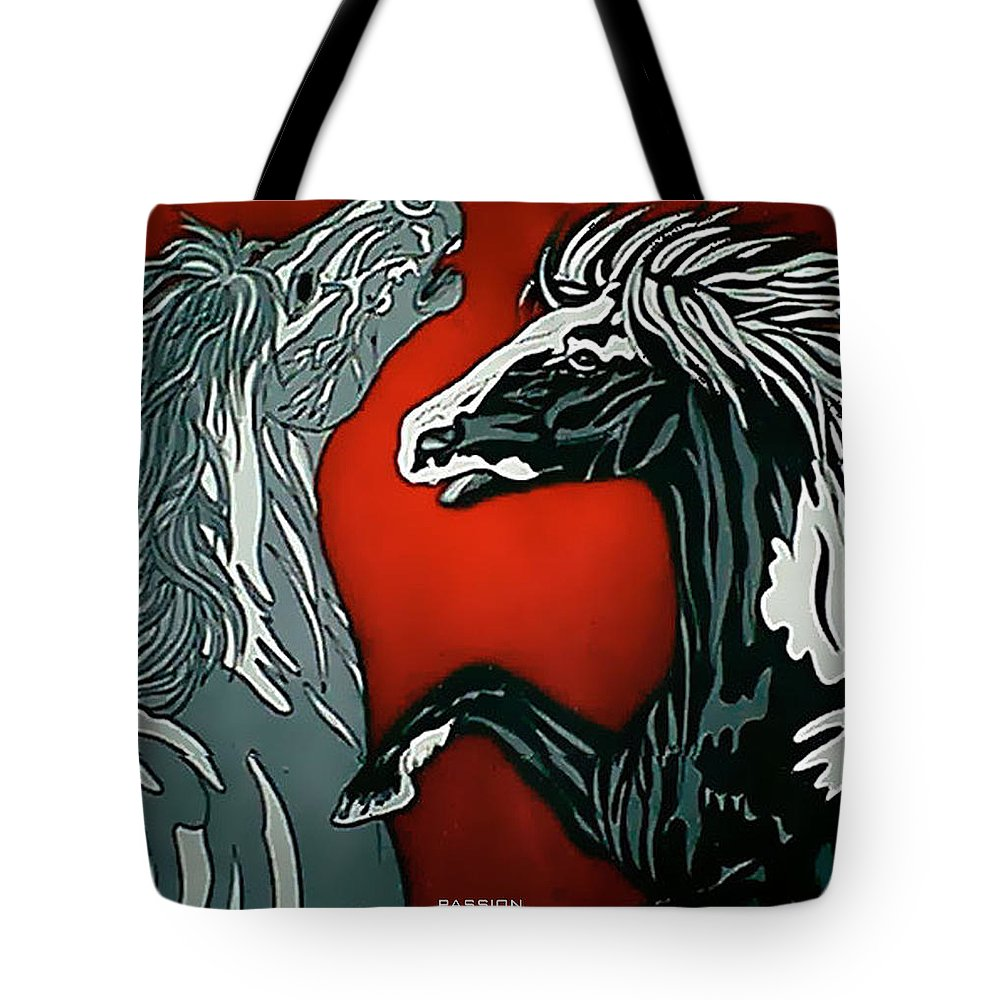 Horses Tote Bag featuring the painting Passion by Larry Rice
