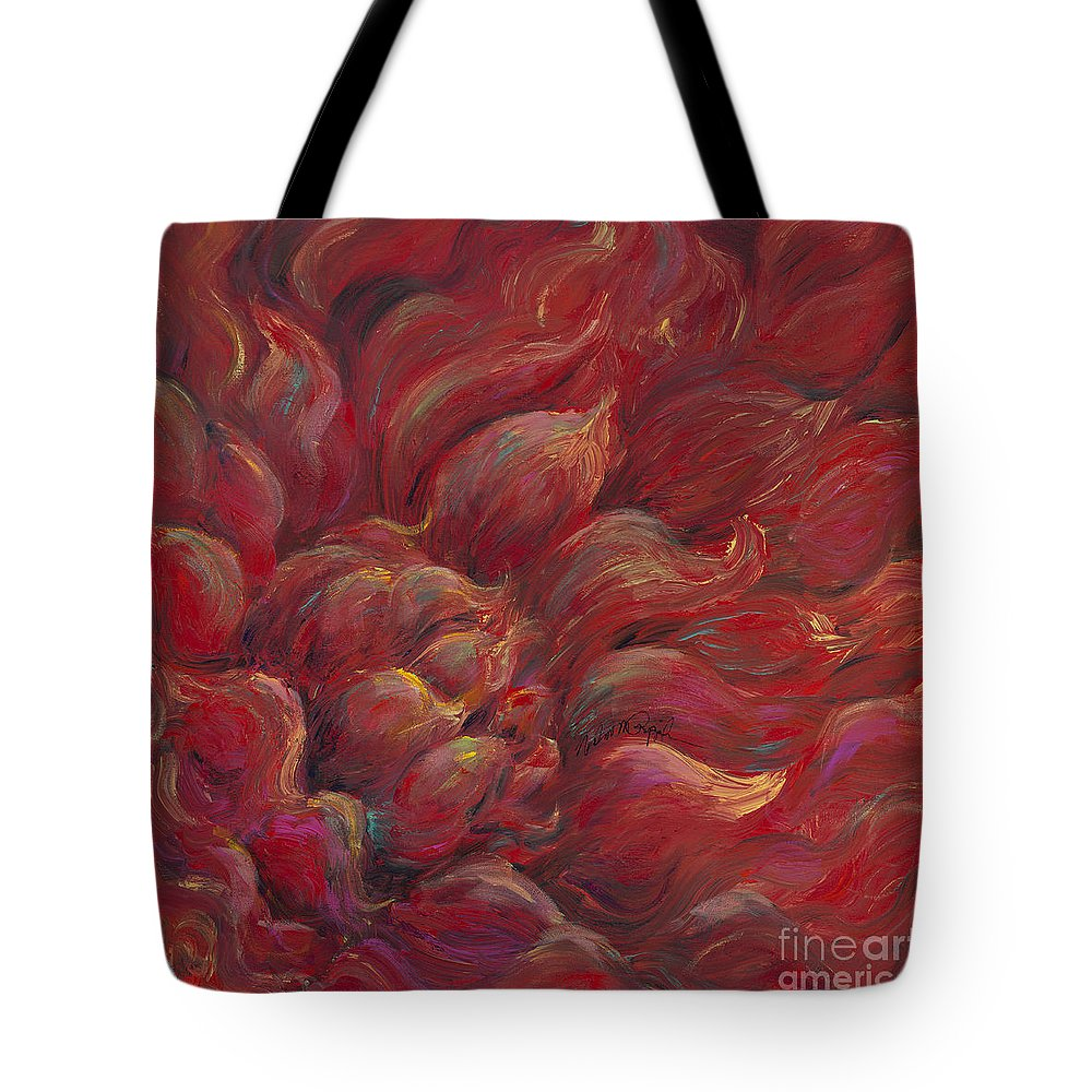 Red Tote Bag featuring the painting Passion V by Nadine Rippelmeyer