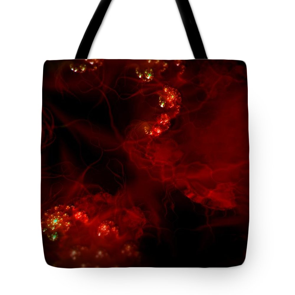 Passion Red Explosion Expression Blood Heart Tote Bag featuring the digital art Passional by Veronica Jackson