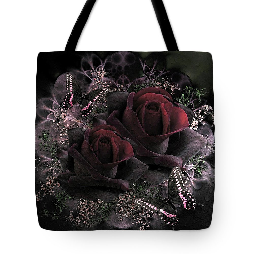 Passionate Tote Bag featuring the mixed media Passionate Roses 02 by G Berry