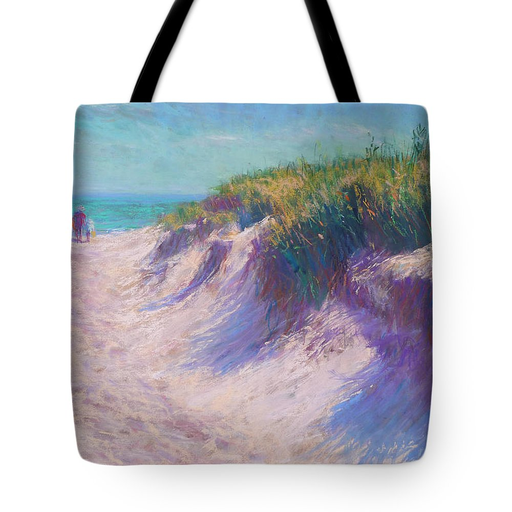 Pastel Tote Bag featuring the pastel Past The Dunes by Michael Camp