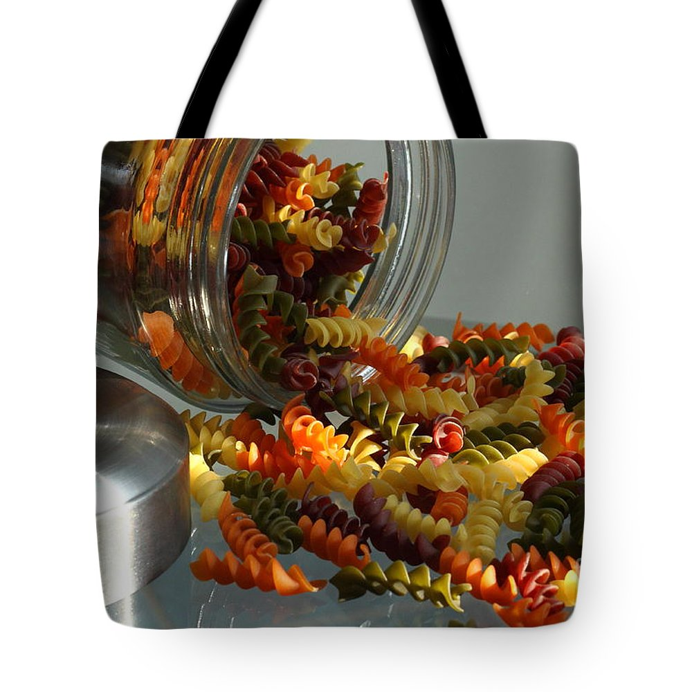 Food Tote Bag featuring the photograph Pasta Spillage by Robert Frederick