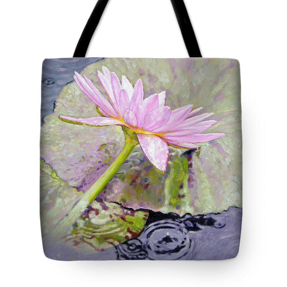 Water Lily Tote Bag featuring the painting Pastel Beauty by John Lautermilch