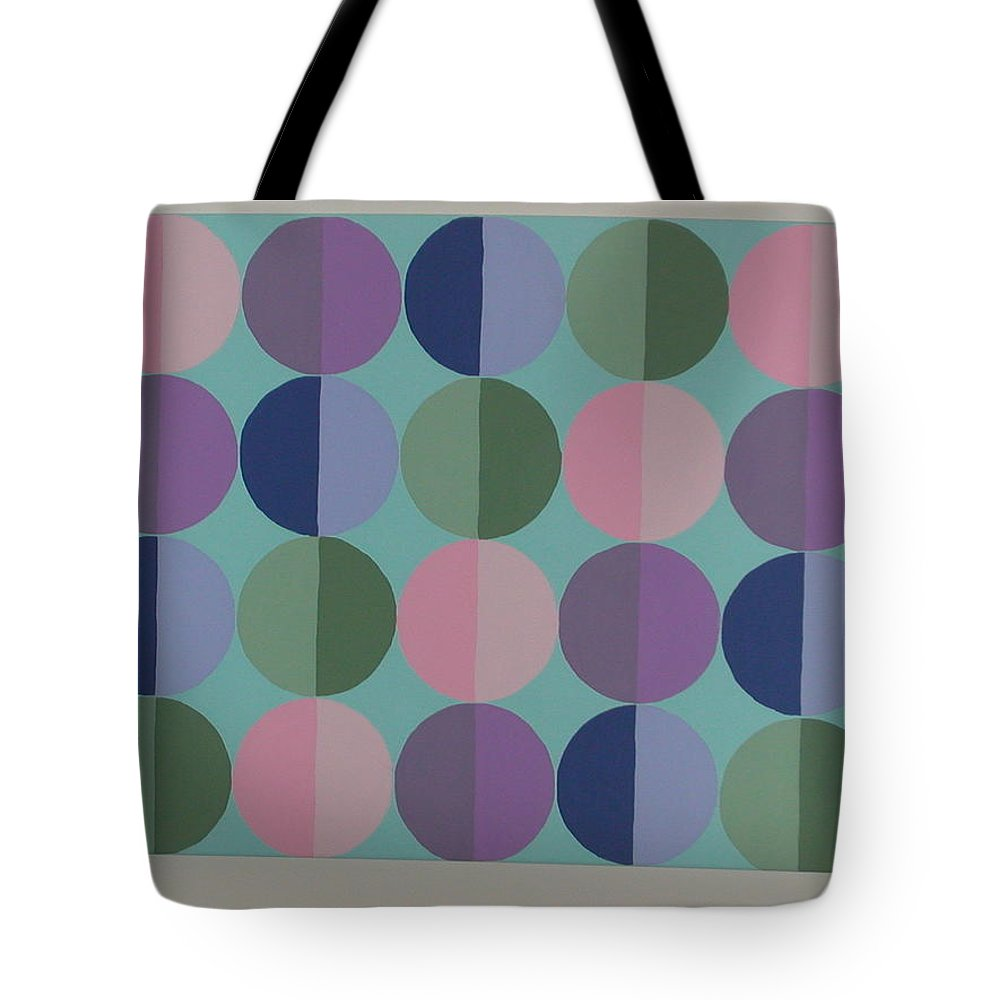 Blue Tote Bag featuring the painting Pastel Cirles by Gay Dallek