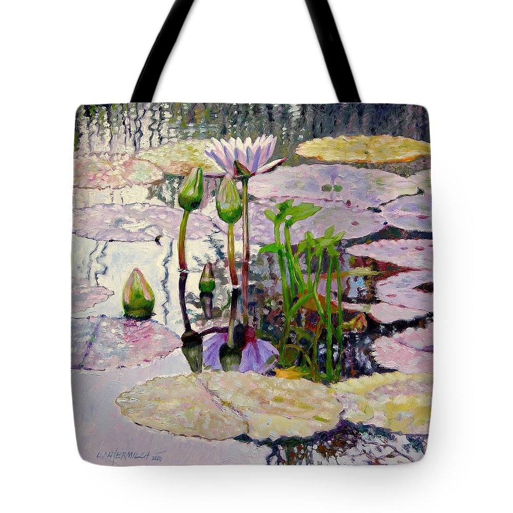 Water Lily Pond Tote Bag featuring the painting Pastel Light by John Lautermilch