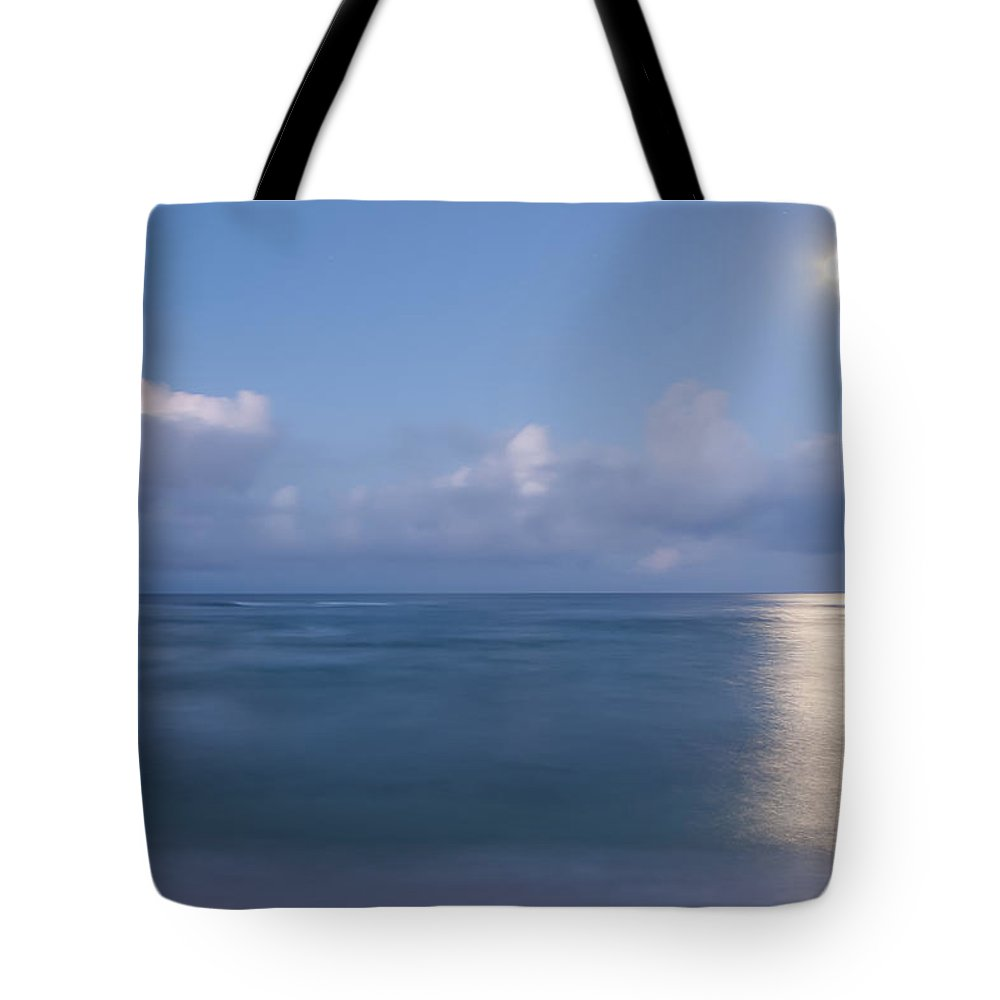 Ocean Tote Bag featuring the photograph Pastel Moonset by Roger Mullenhour
