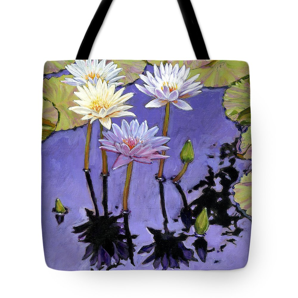 Water Lilies Tote Bag featuring the painting Pastel Petals by John Lautermilch