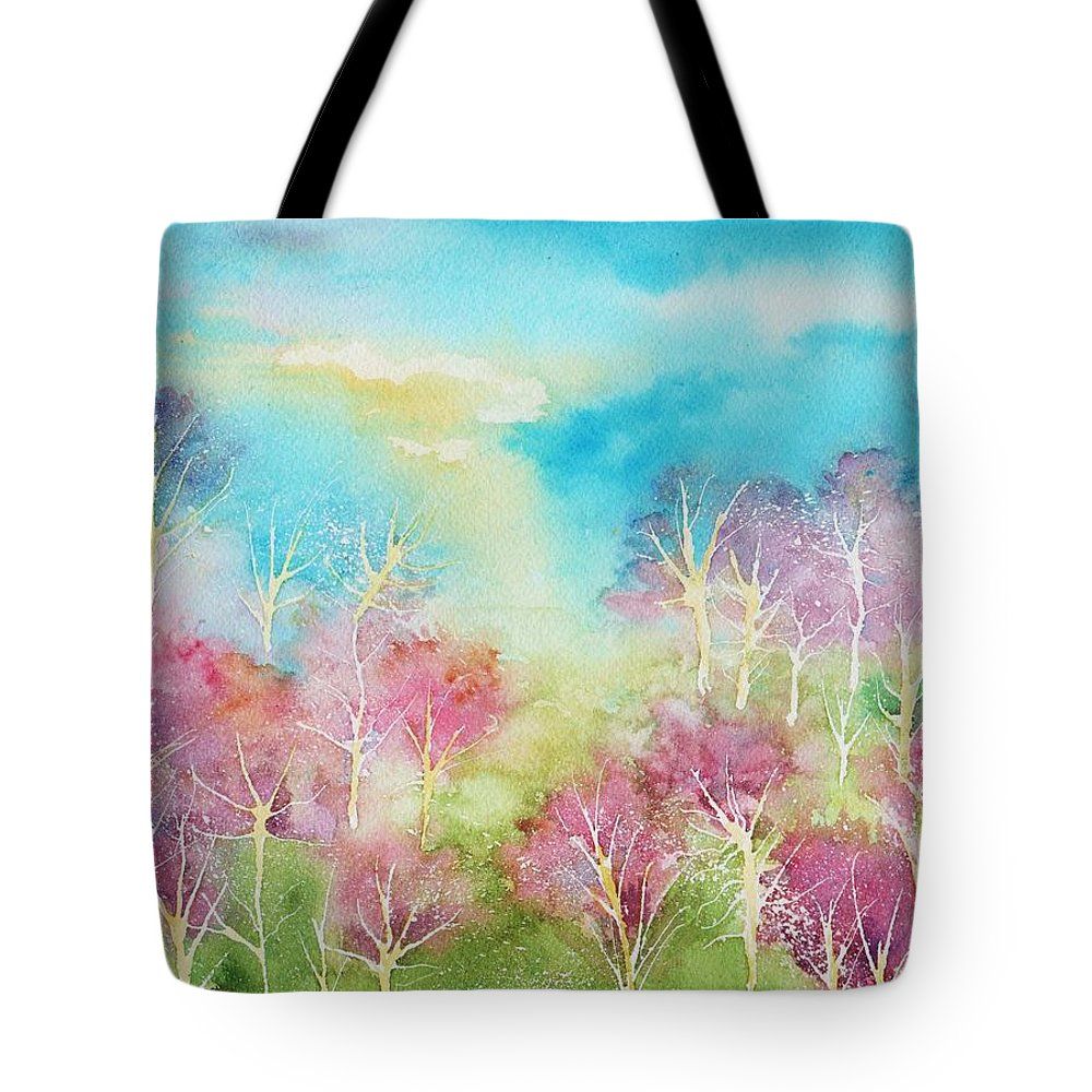 Landscape Tote Bag featuring the painting Pastel Spring by Brenda Owen