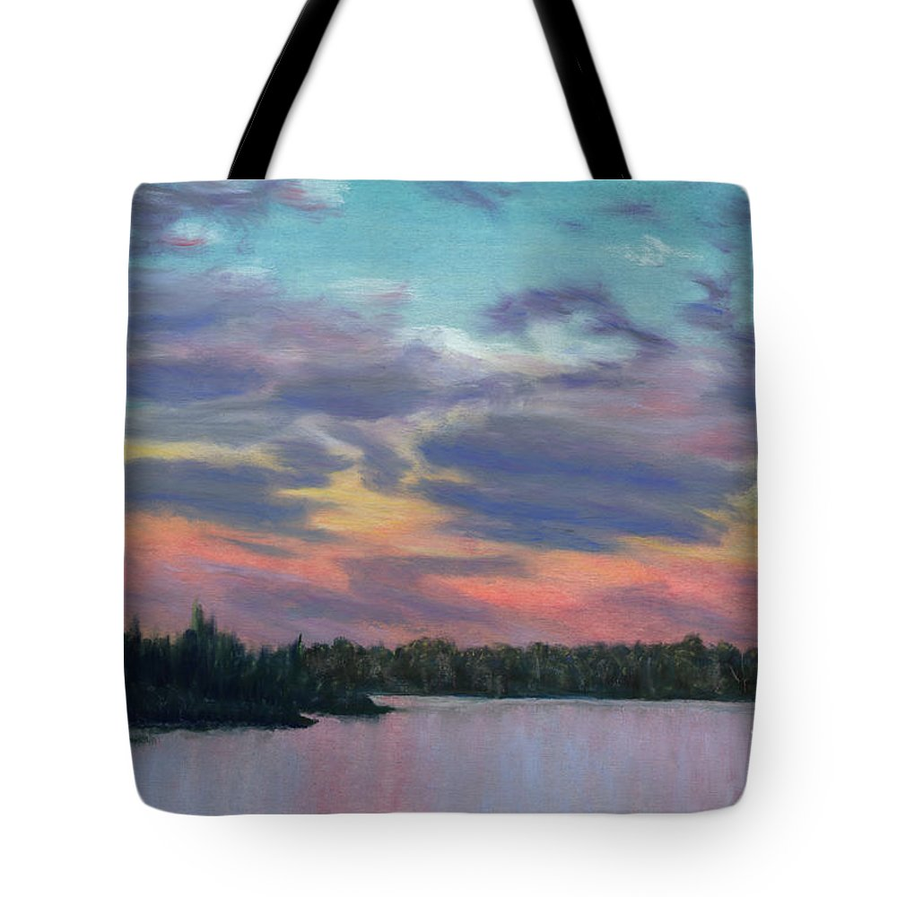 Landscape Tote Bag featuring the painting Pastel Sunset by Lynn Quinn