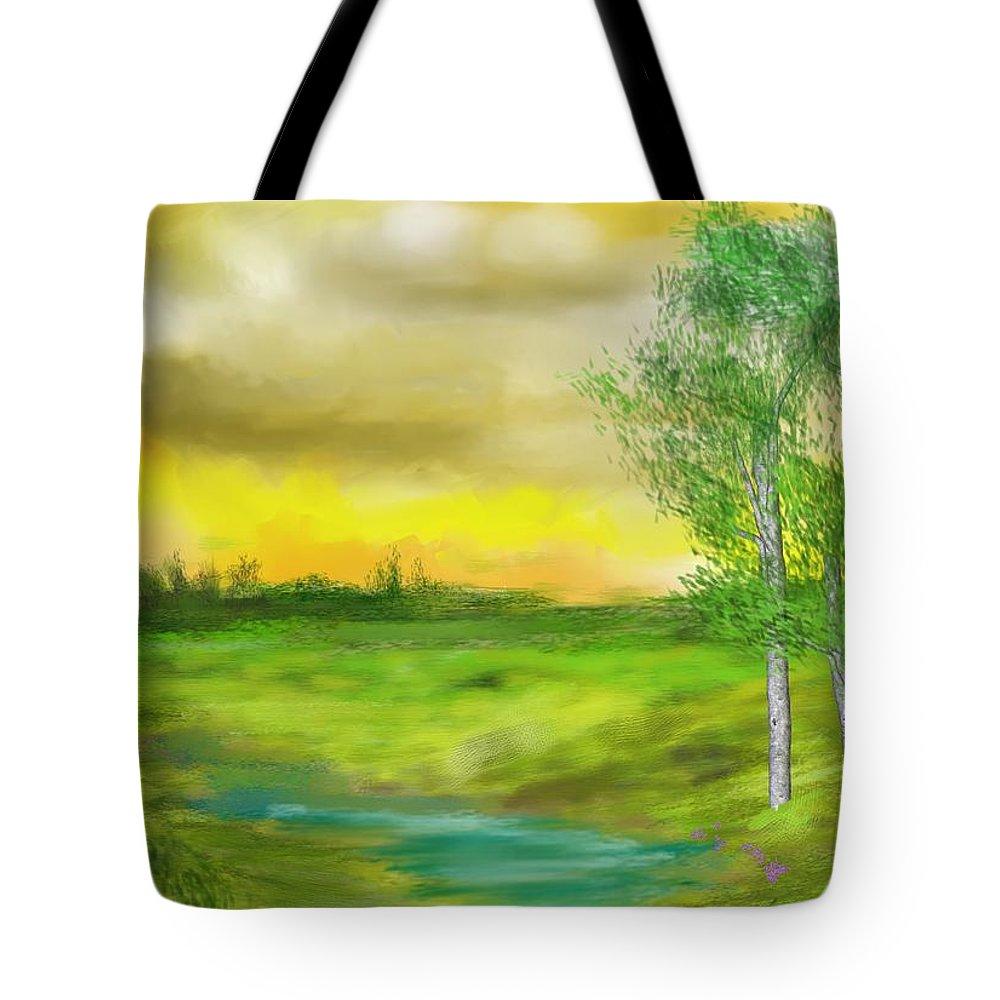 Landscape Tote Bag featuring the digital art Pastoral by David Lane