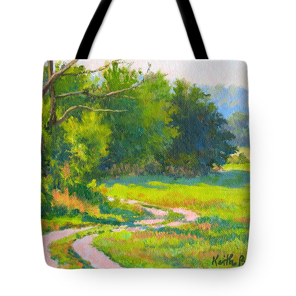 Landscape Tote Bag featuring the painting Pasture Road by Keith Burgess