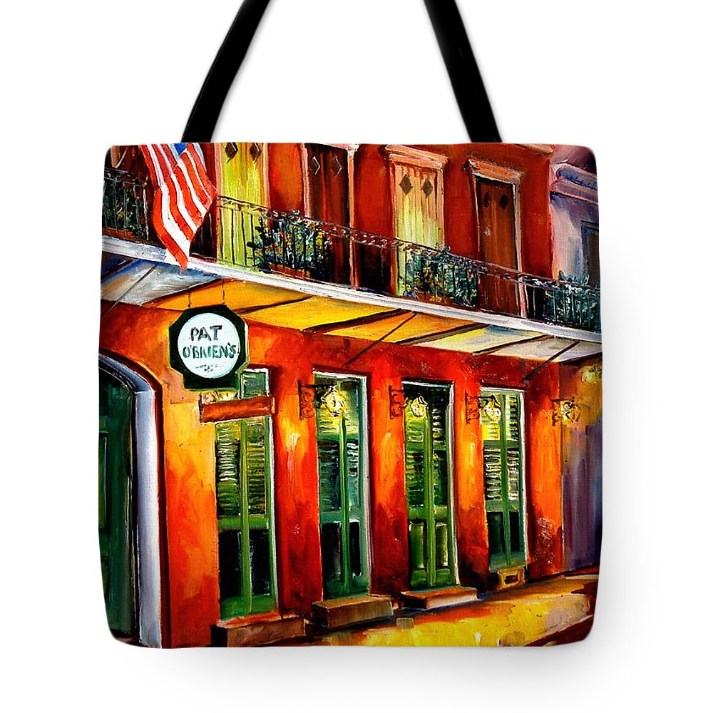 New Orleans Paintings Tote Bag featuring the painting Pat O Briens Bar by Diane Millsap