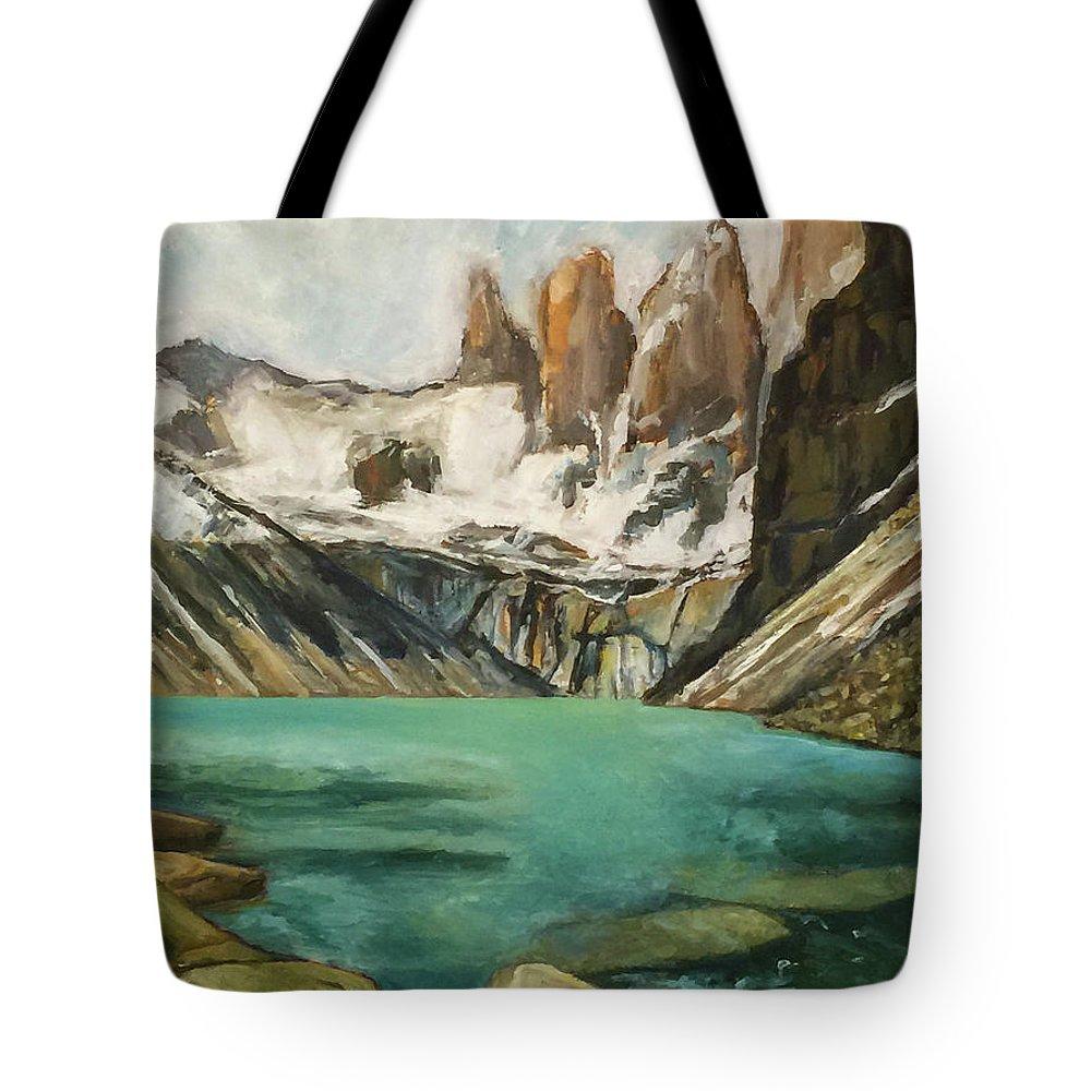 Patagonia Tote Bag featuring the painting Patagonia by Hal Sadler