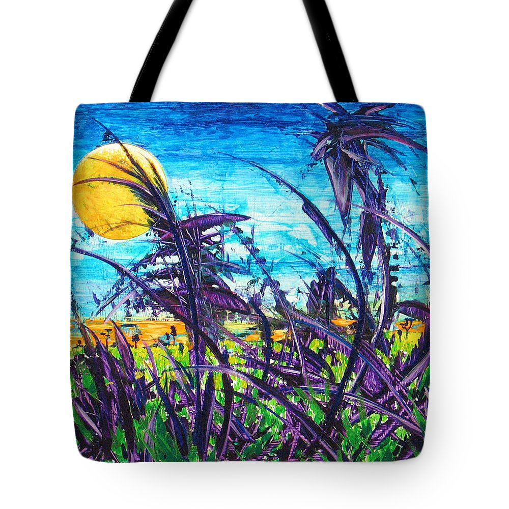 Landscape Tote Bag featuring the painting Patch of Field Grass by Rollin Kocsis