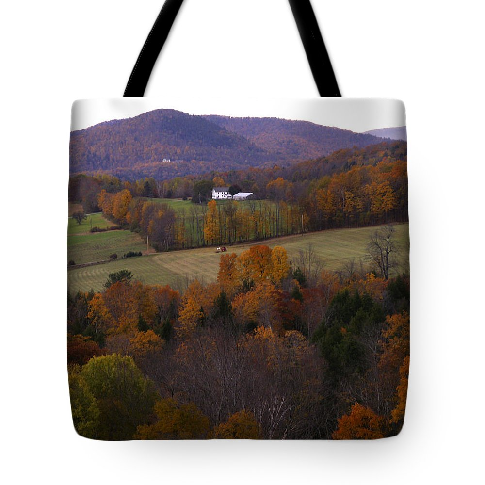 Vermont Tote Bag featuring the photograph Patch Worked Mountains In Vermont by Nancy Griswold