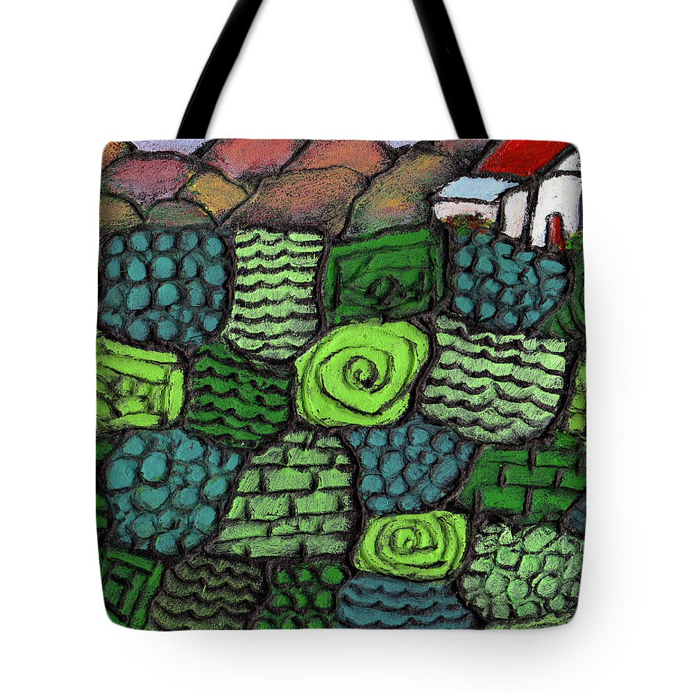 Green Tote Bag featuring the painting Patches Of Green by Wayne Potrafka