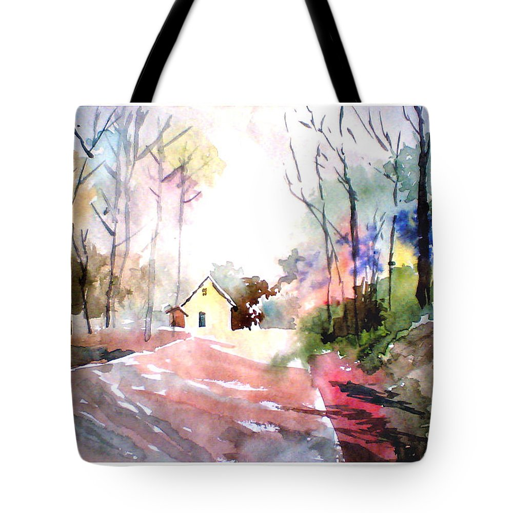 Nature Tote Bag featuring the painting Path In Colors by Anil Nene