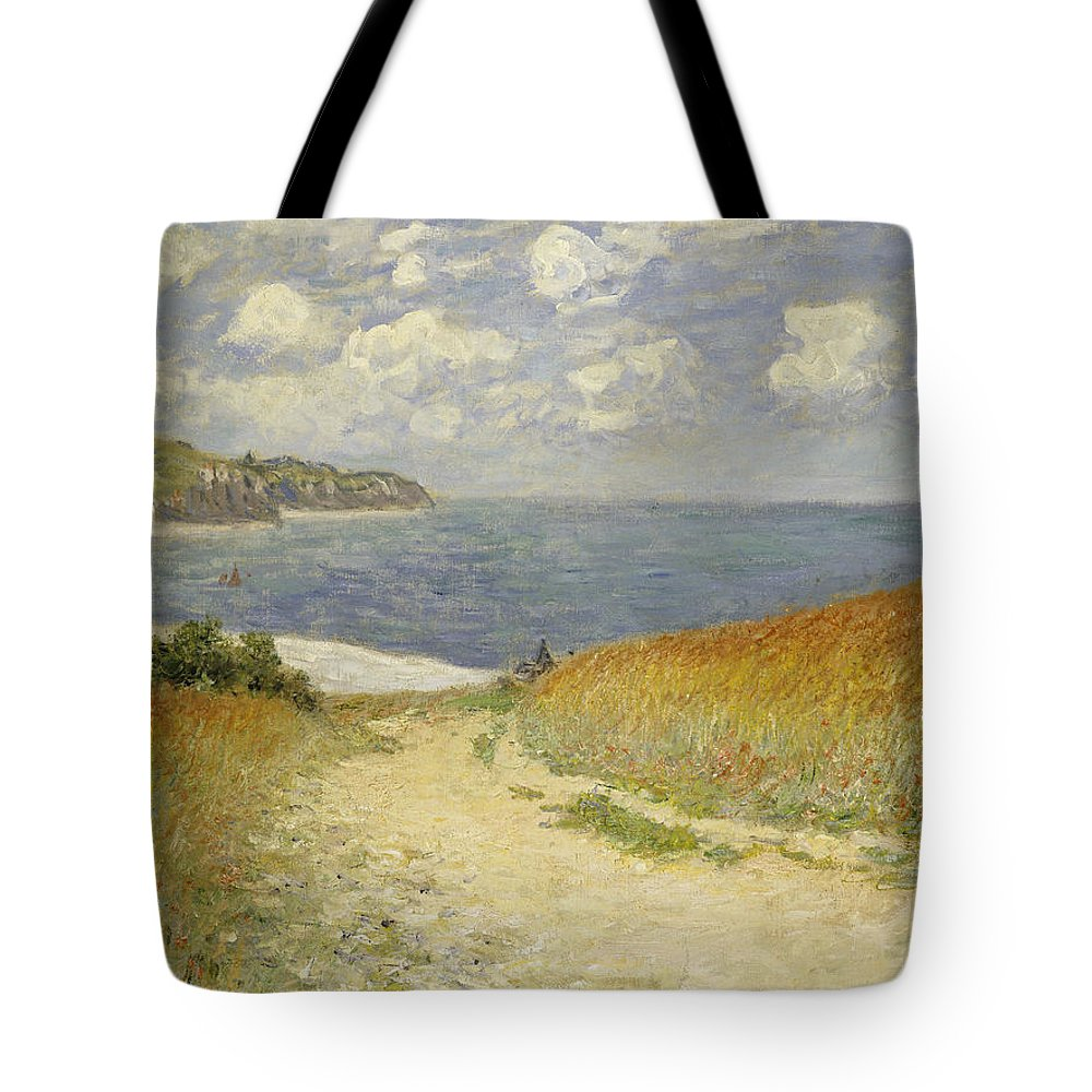 Path In The Wheat At Pourville Tote Bag featuring the painting Path in the Wheat at Pourville by Claude Monet
