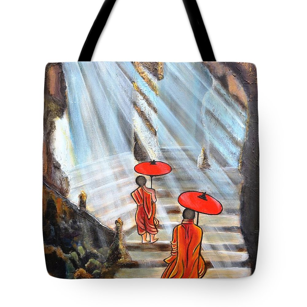Buddha Tote Bag featuring the painting Path to enlightenment by Manjiri Kanvinde
