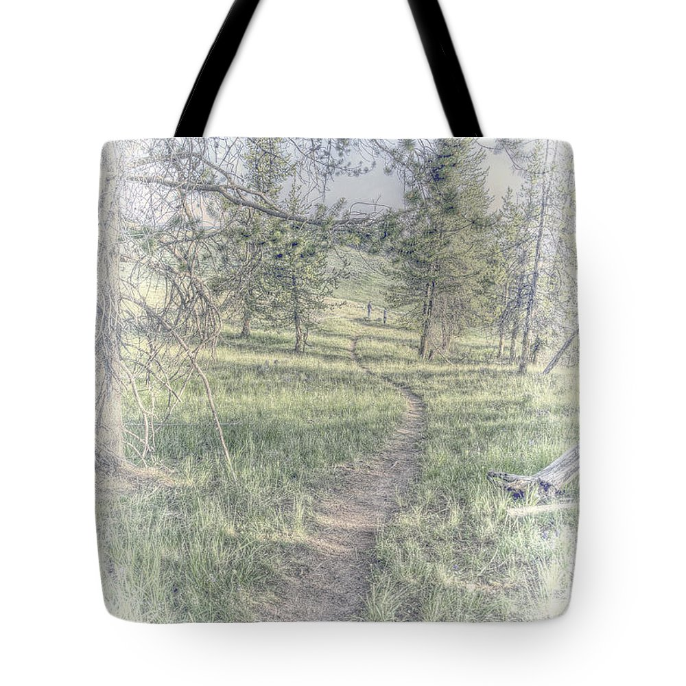 Hand Tint Hdr Yellowstone Tote Bag featuring the photograph Path To Life Is Narrow by Mark Andrews