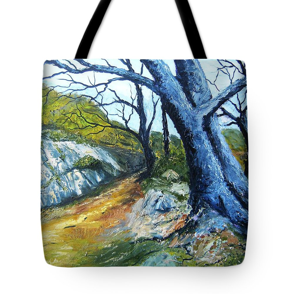 Landscape Tote Bag featuring the painting Path To Rivendale by Tami Booher