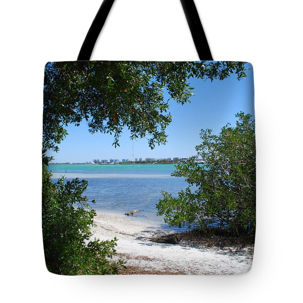 Blue Tote Bag featuring the photograph Path To Sarasota Bay by Gary Wonning