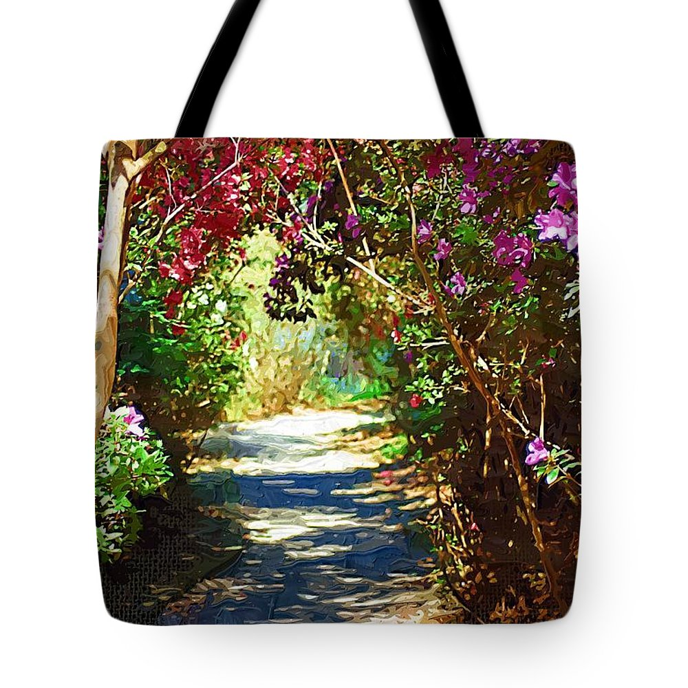 Landscape Tote Bag featuring the digital art Path To The Gardens by Donna Bentley