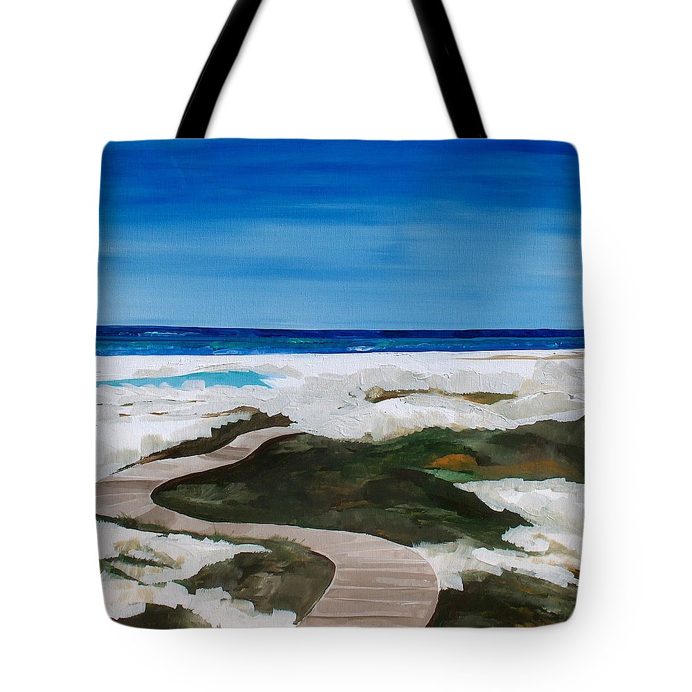 Beach Tote Bag featuring the painting Path To The Sea by Racquel Morgan