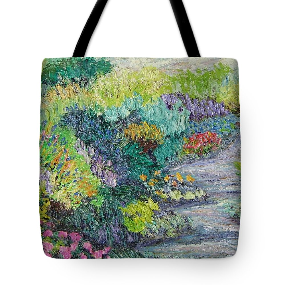 Flowers Tote Bag featuring the painting Pathway Of Flowers by Richard Nowak
